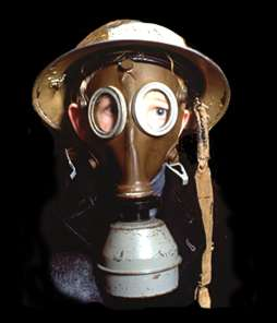 Gas mask and tin helmet